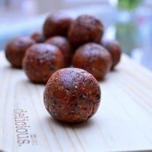 Thermomix Goji Berry Bliss Balls - made quickly and easily in the Thermomix and perfect for keeping in the fridge for a healthy snack or popped into a lunch box.