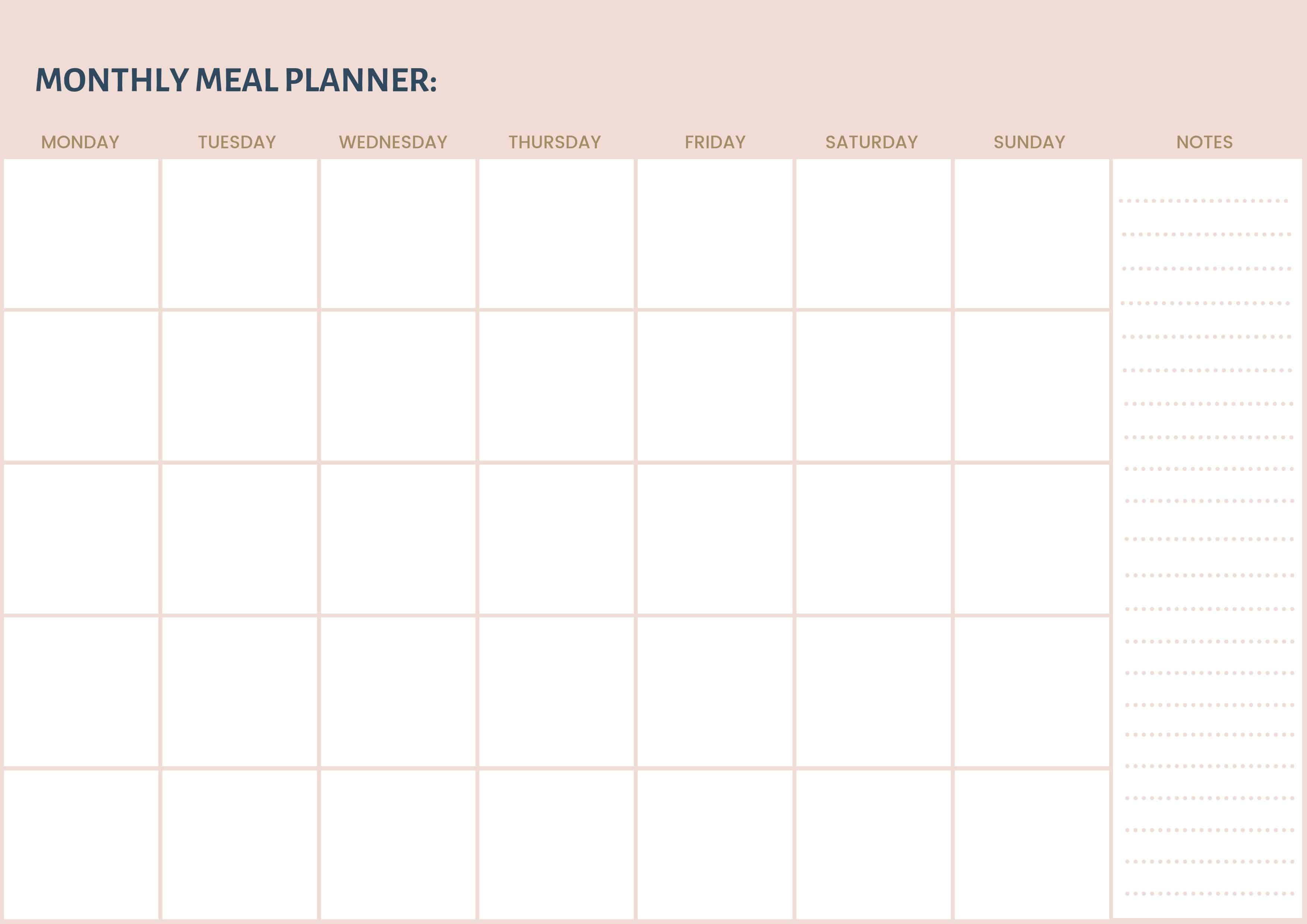 graphic relating to Printable Monthly Meal Planner named Month-to-month Supper Planner (Absolutely free Printable) Thermomix Diva