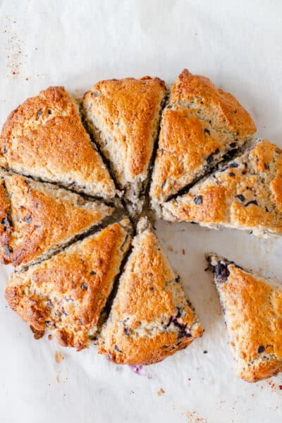 Lemon Bluberry Scones Cut into eights