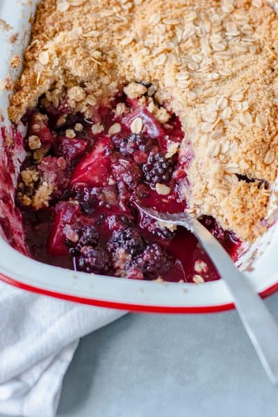 Blackberry and Apple Crumble in baking dish