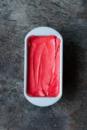 Raspberry Mango Sorbet made in the Thermomix