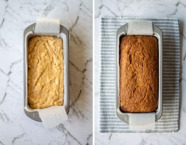 Side by side images of banana bread before and after baking