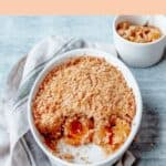 Apricot Crumble in a white oval dish
