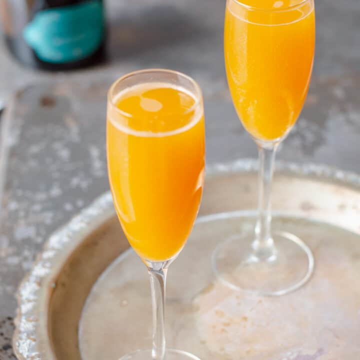 Peach Bellini Cocktails on Silver Tray