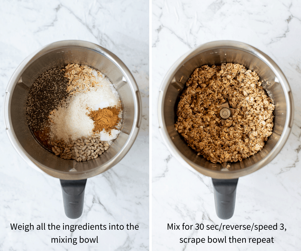 side by side images of granola bars being mixed in Thermomix bowl