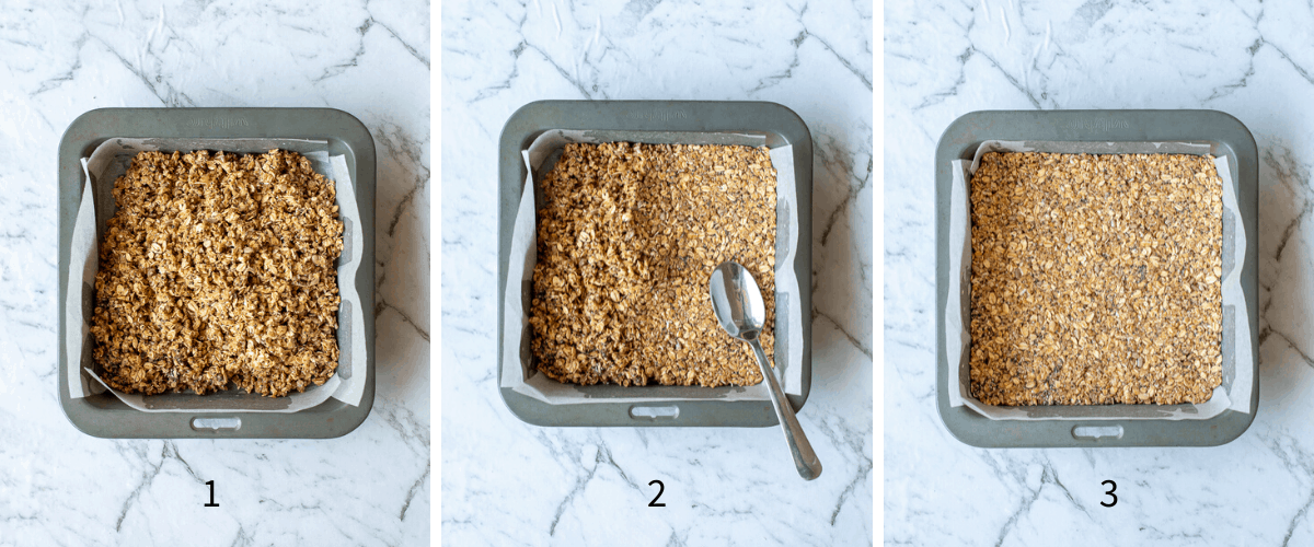 3 images of showing how granola bars are baked in a tin