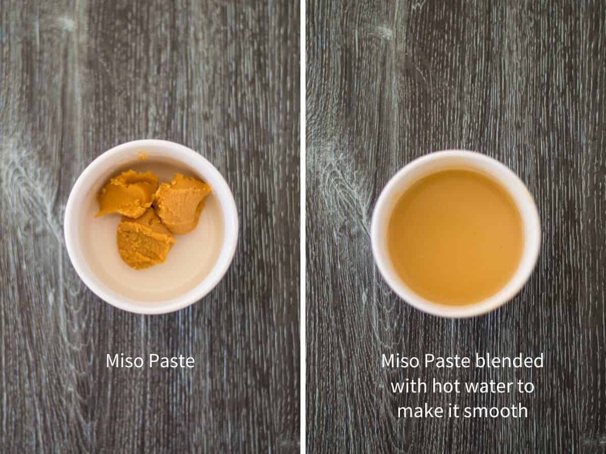 Side by side images of miso paste and miso pasted blended with hot water.