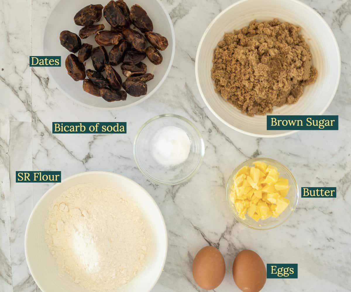 Ingredients used to make sticky date pudding