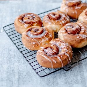 Homemade Cinnamon Rolls drizzled with white icing