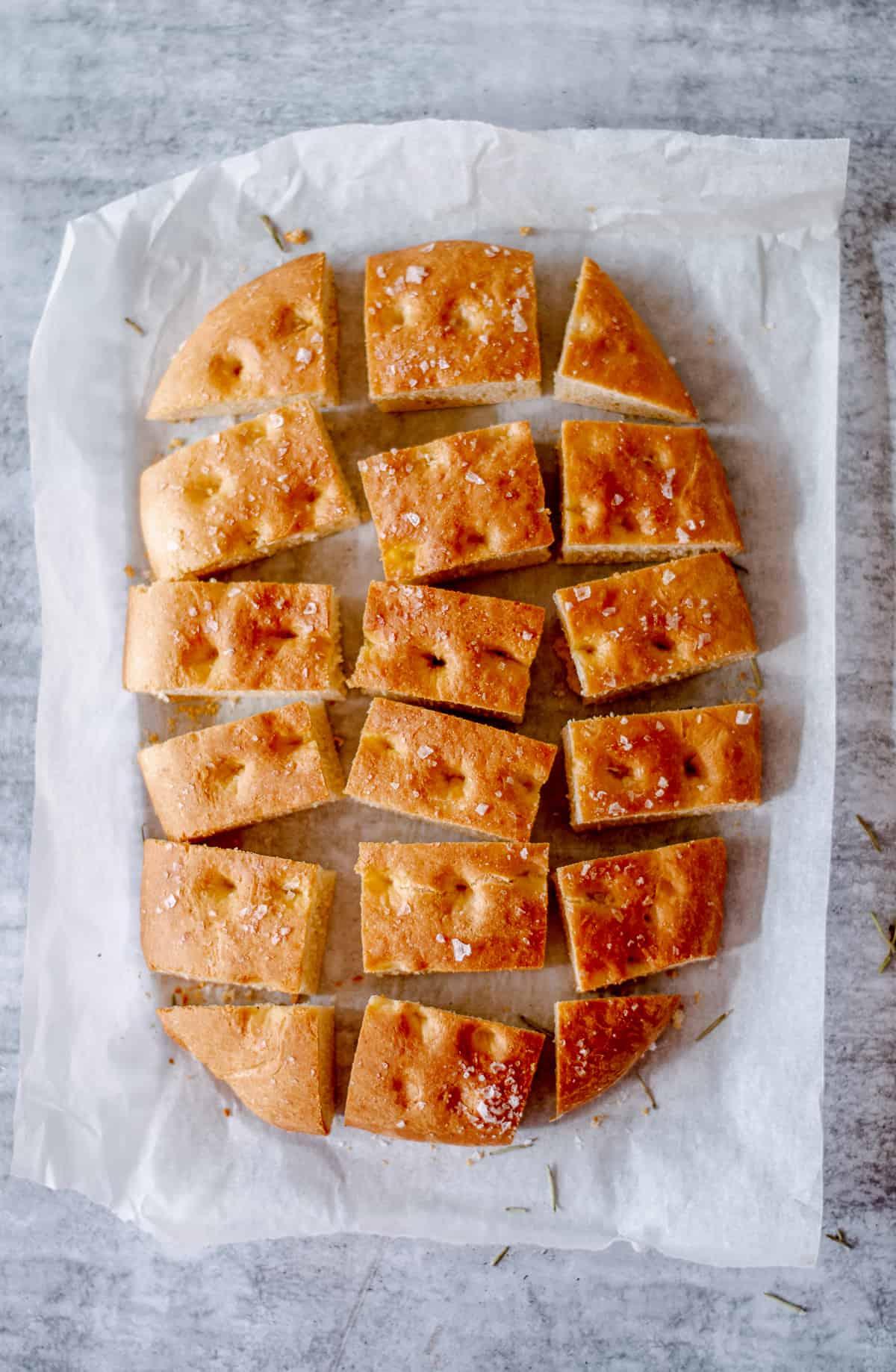 Homemade Focaccia bread cut into slices