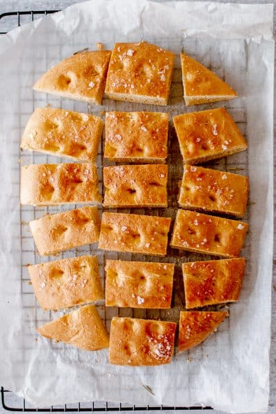 Homemade Focaccia bread recipe cut into slices