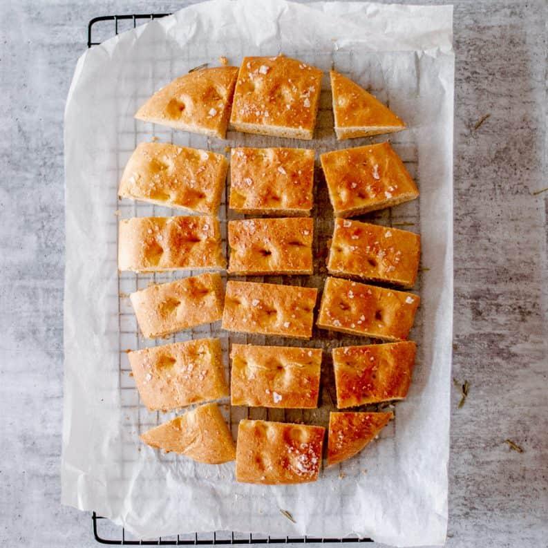 Homemade Focaccia bread recipe cut into slices