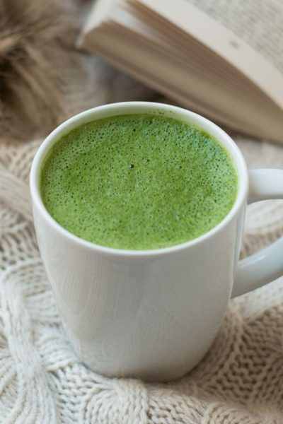 Hot Frothy Matcha Green Tea Latte in White Mug