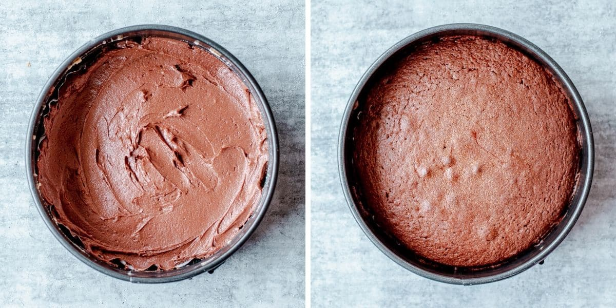 Side by Side Photos of Chocolate Batter and Baked Chocolate Cake
