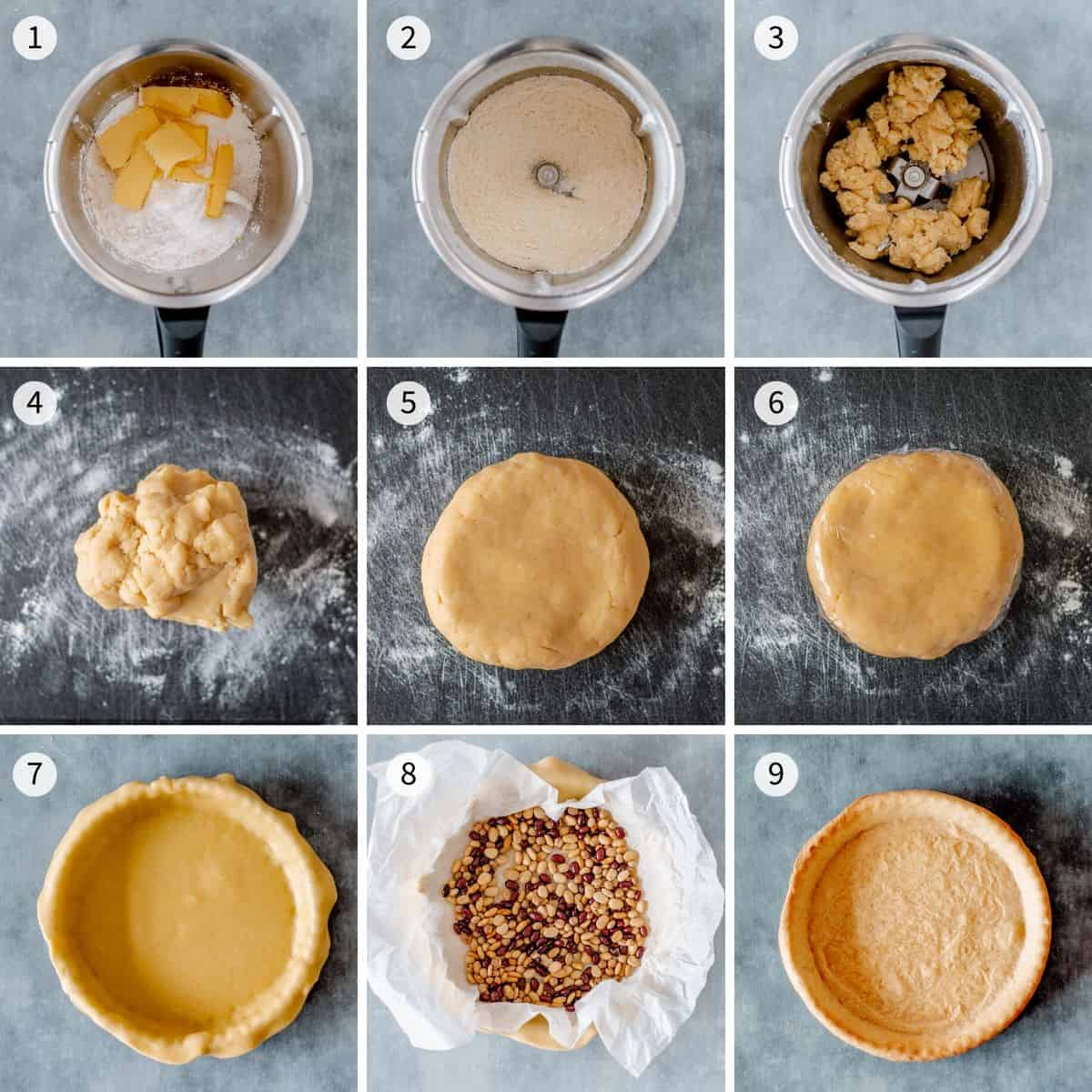 9 step by step photos explaining how to make sweet shortcrust pasty in the Thermomix