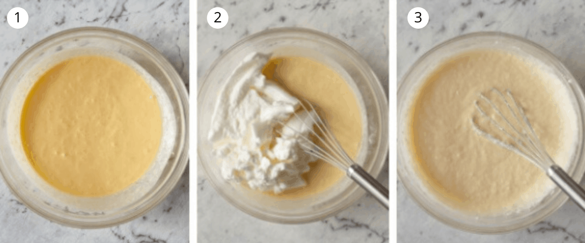 3 images showing how to mix lemon delicious pudding in a glass bowl with whisk.