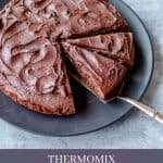 A pinterest pin for Thermomix Chocolate Cake with Chocolate Buttercream Icing