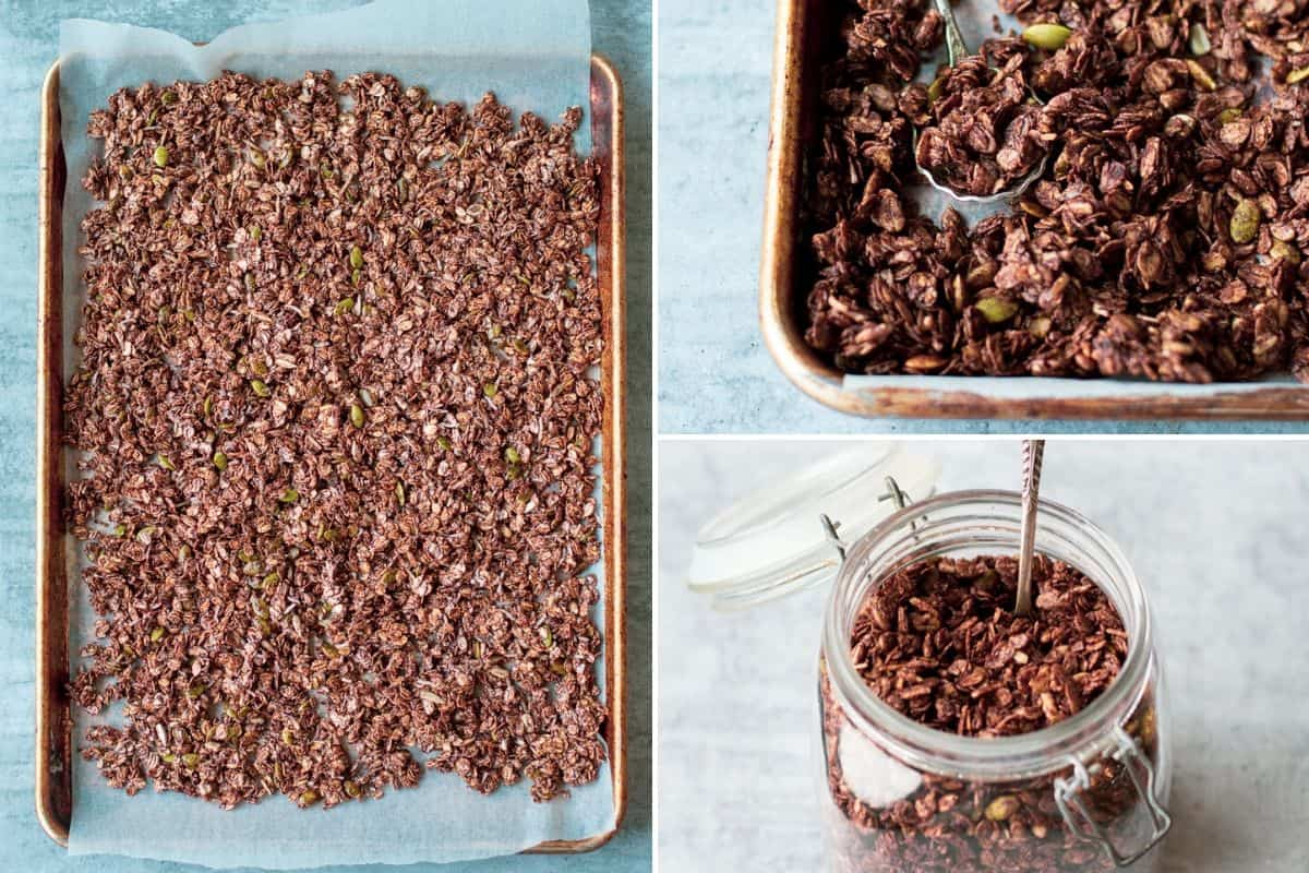 3 images of chcolate granola spread out on baking tray, close up of cooked chocolate granola with a spoon, chocolate gramola in a clear jar