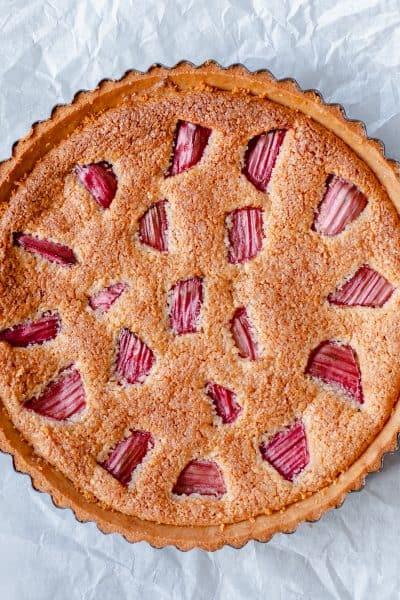Homebake Rhubarb Frangipani Tart in round tart tin