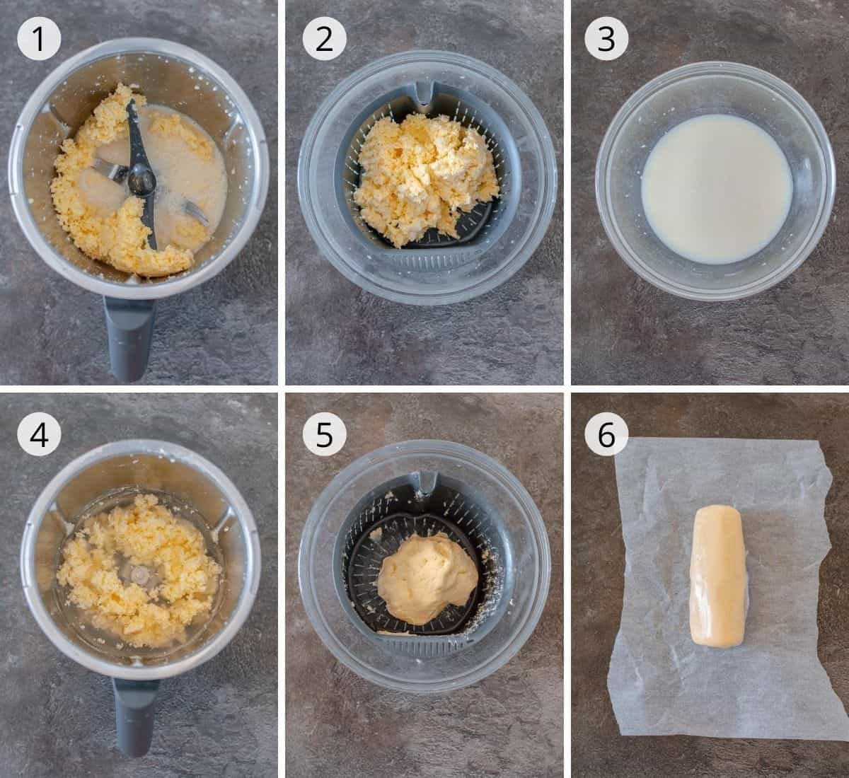6 step by step images explaining how to make butter from cream in the Thermomix