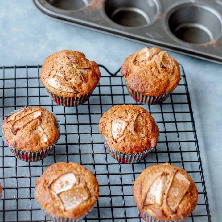 Apple Cinnamon Muffins on wirerack