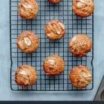 Homemade Apple Cinnamon Muffins on wire rack.