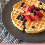 Wholemeal Waffles Topped with Strawberries and Blueberries