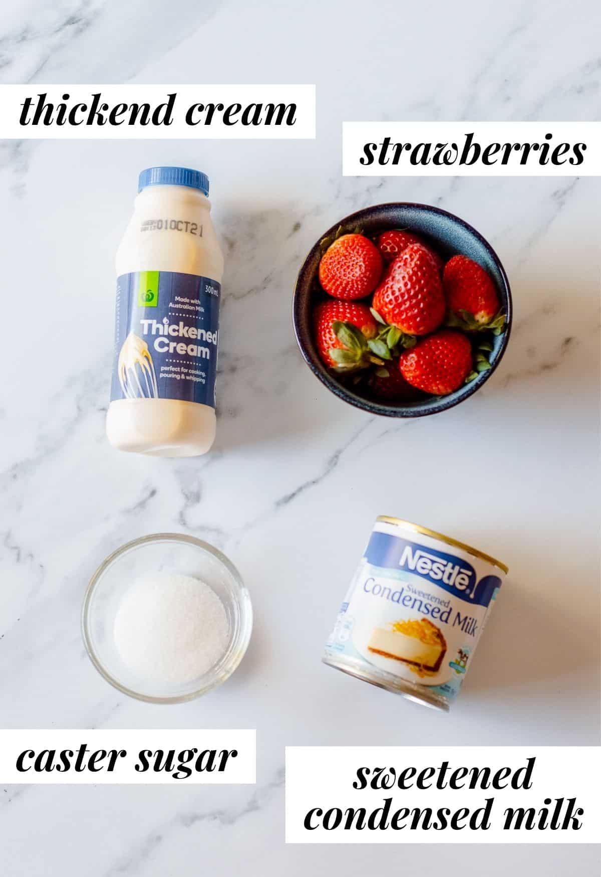 ingredients to make homemade strawberry icecream