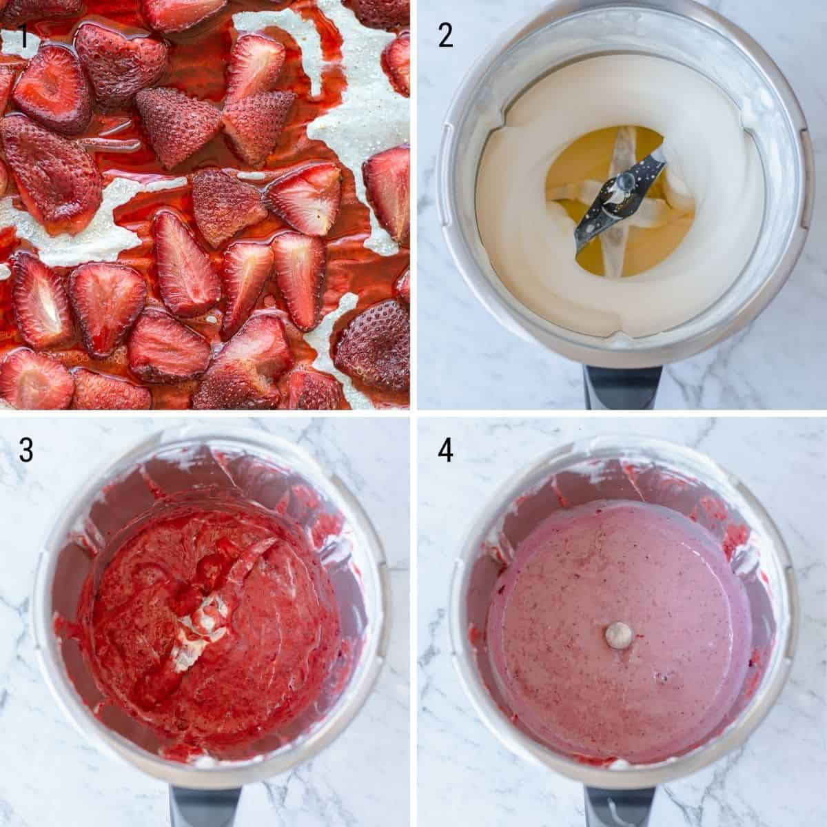 A collection of images explaining how to make strawberry ice cream in the Thermomix.