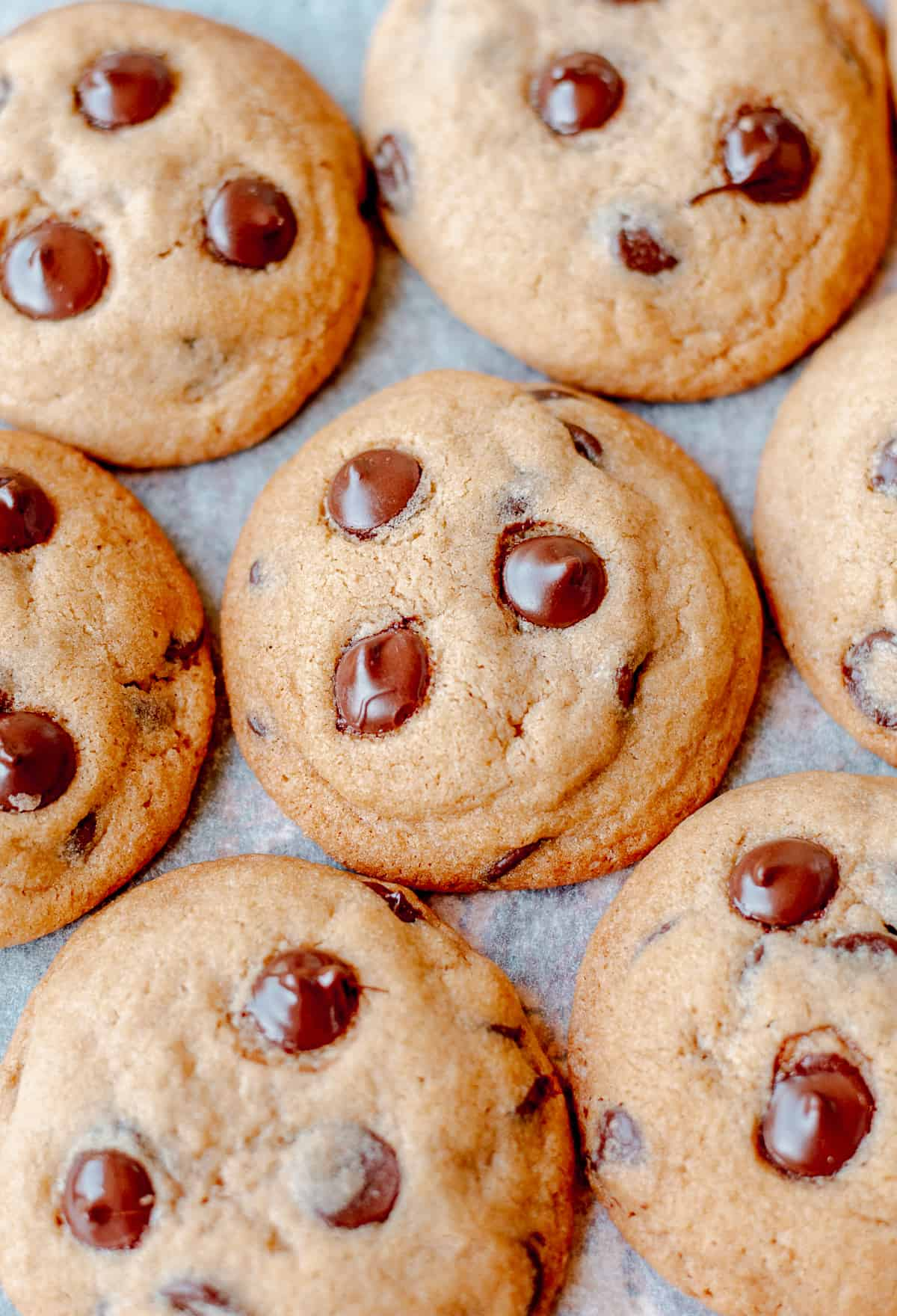 Chocolate Chips Cookies on baking sheet.