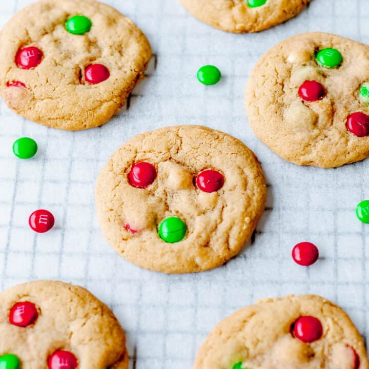 Homebaked cookies with red and green M&Ms