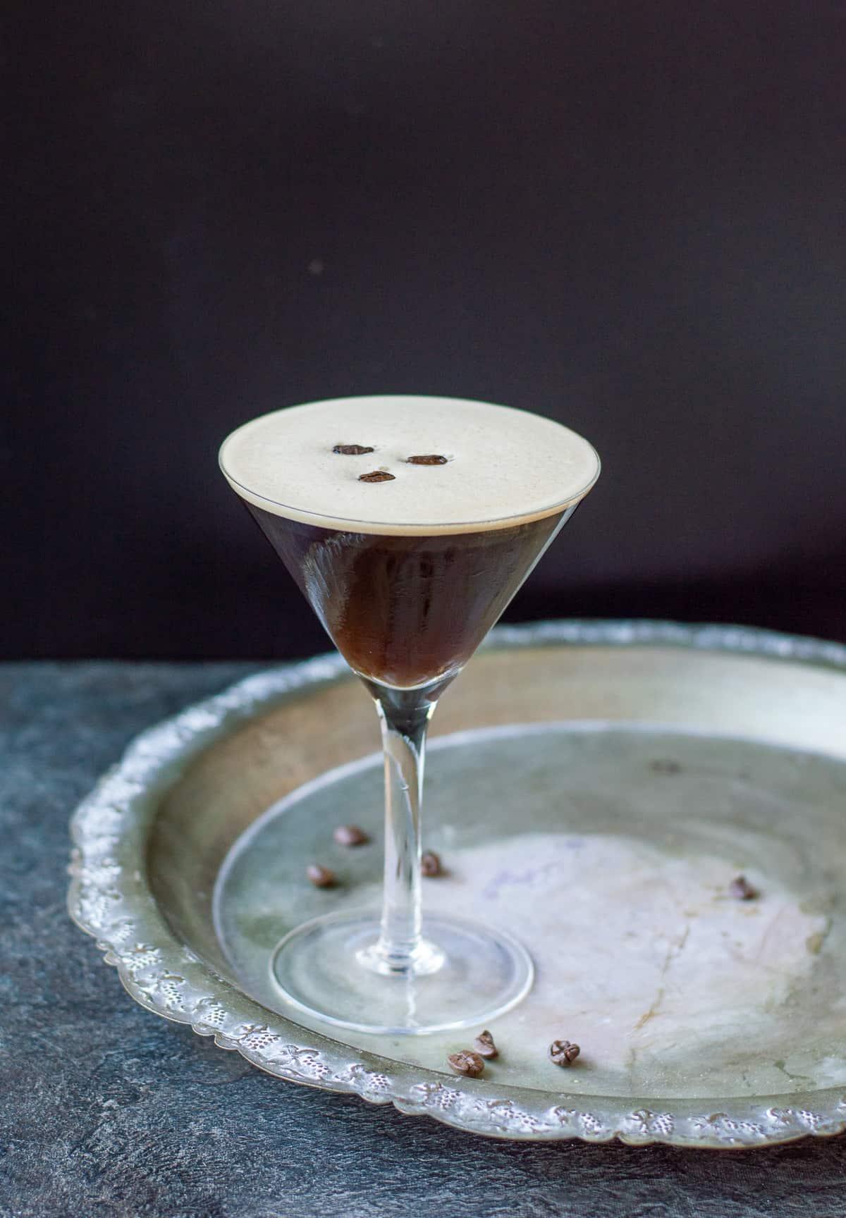 Espresso Martini with coffee beans in a martini glass