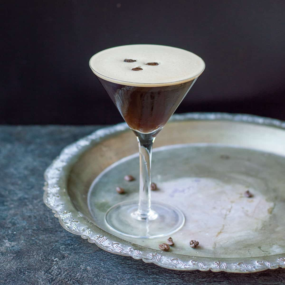 Espresso Martini with coffee beans