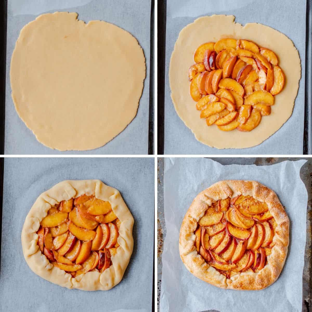 step by step photos explaining how to make a peach galette