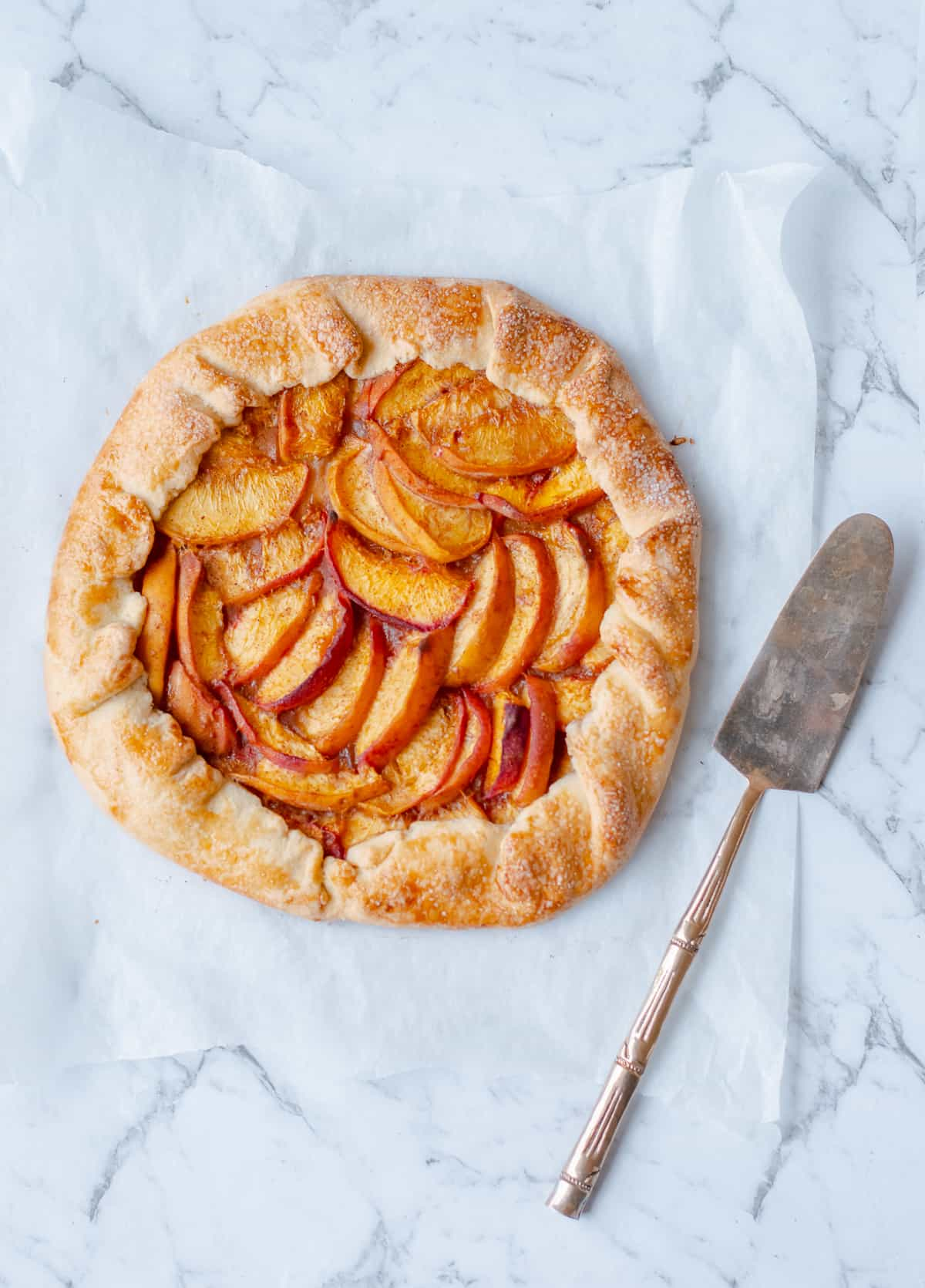 peach galette with tart slice