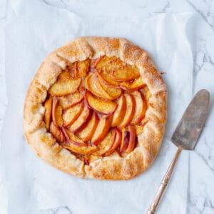 peach galette with tart slicer
