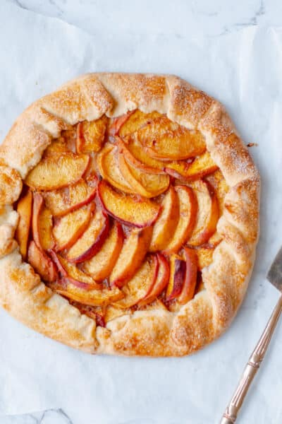peach galette with tart slicer