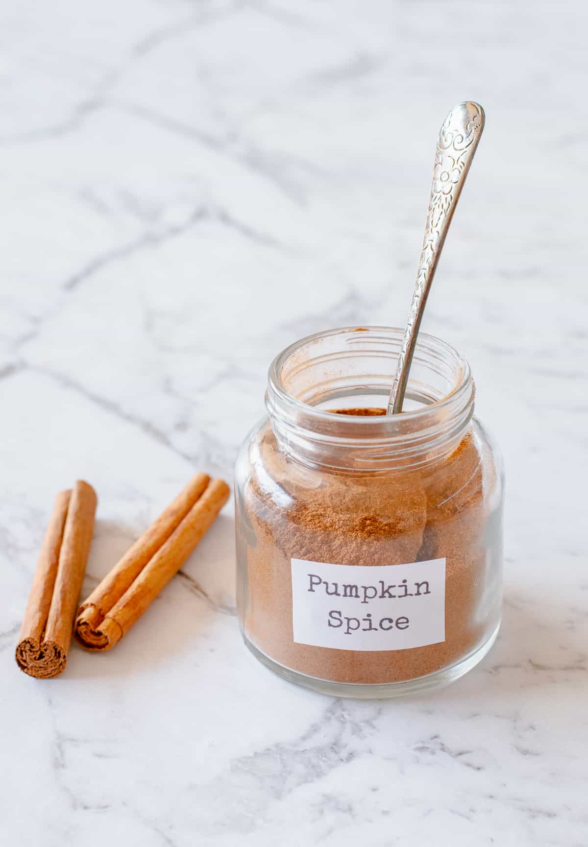 A jar of homemade pumpkin spice