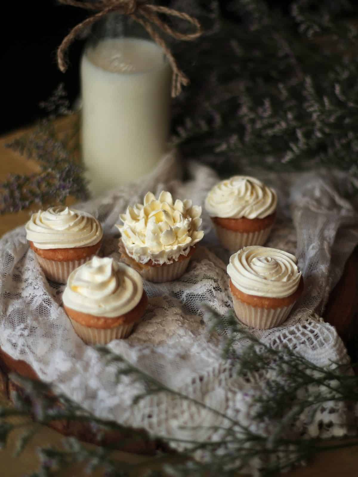 cupcakes with buttercream icing.