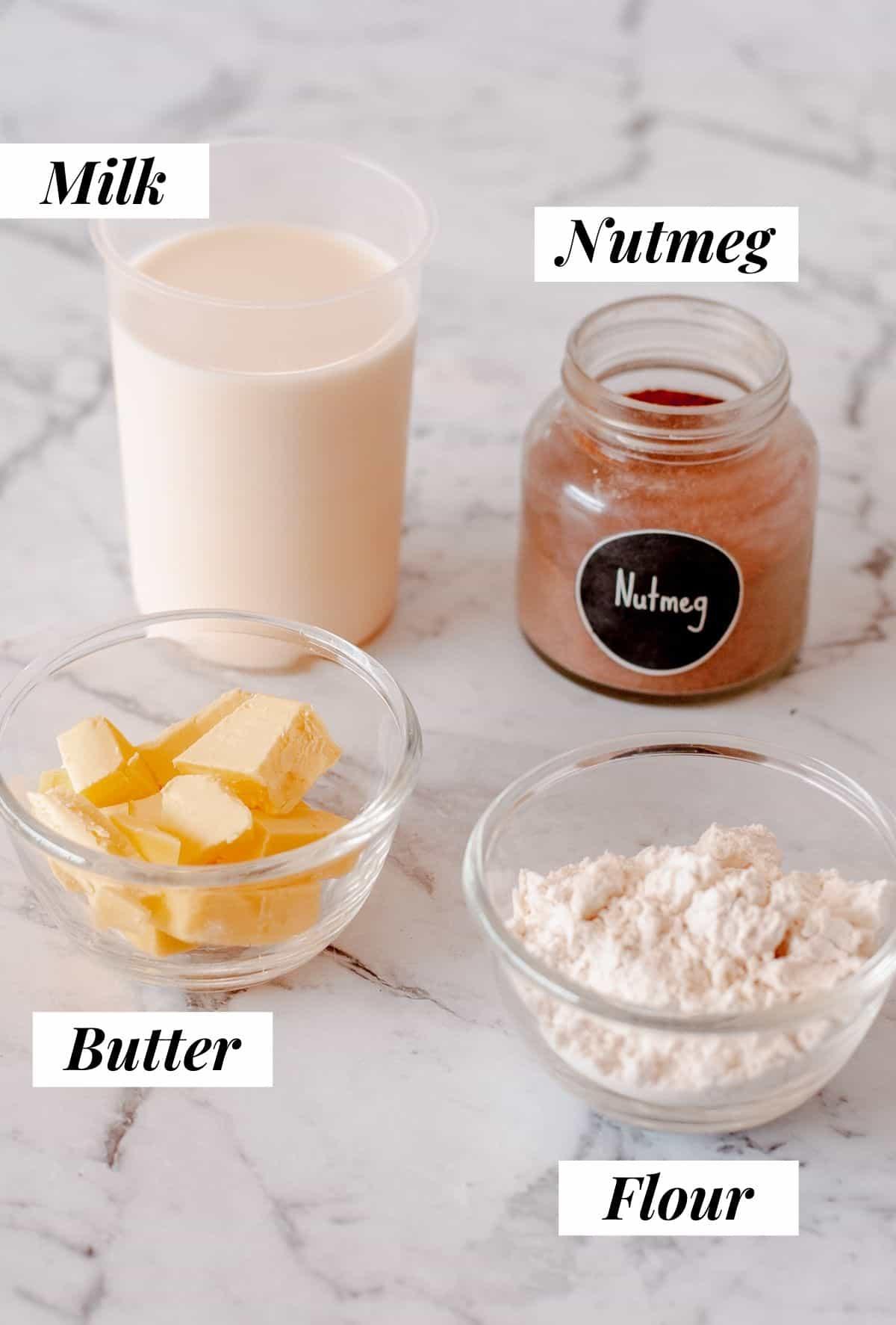 Ingredients to make bechamel sauce.