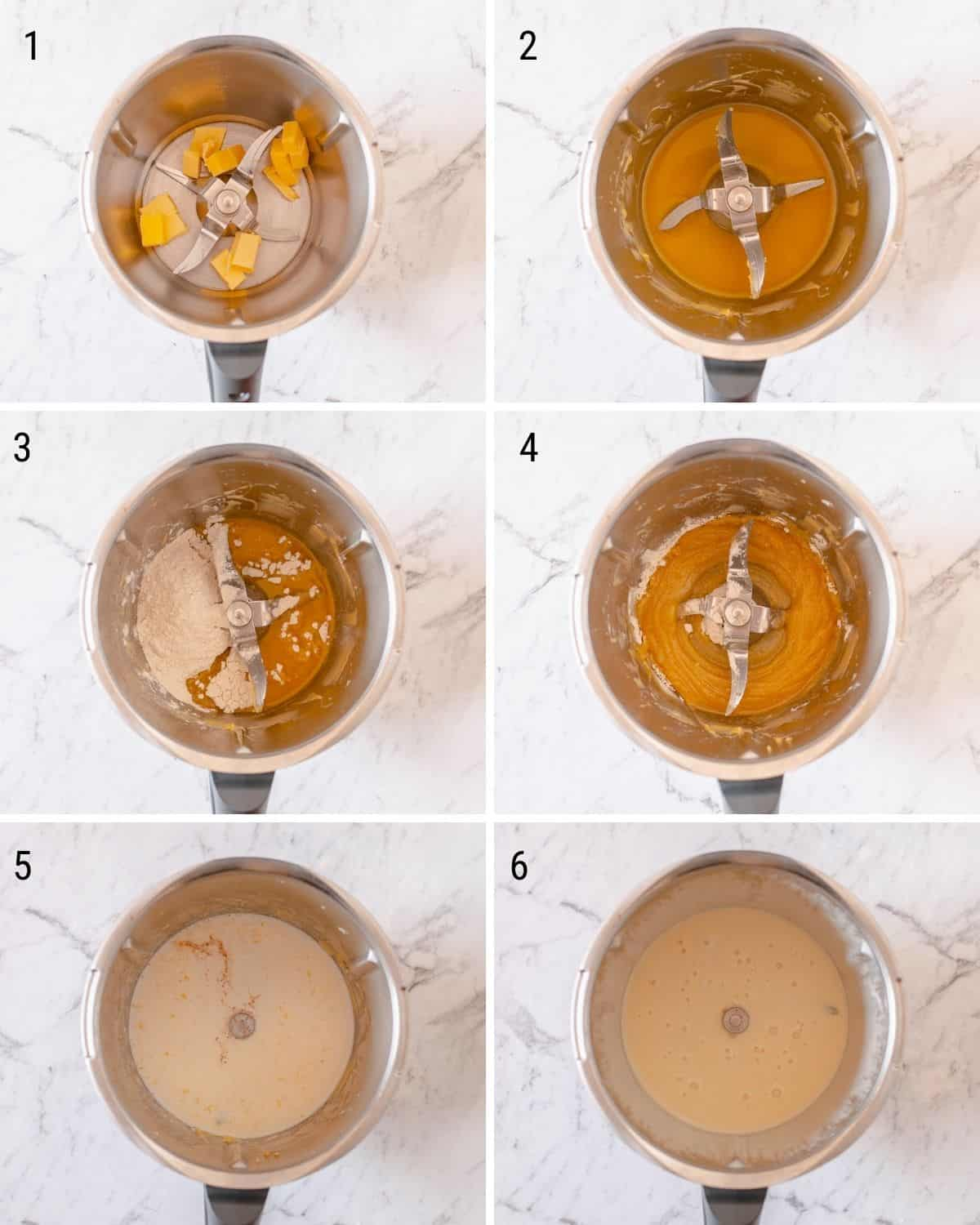 a collection of images explaining how to make bechamel sauce in the Thermomix.