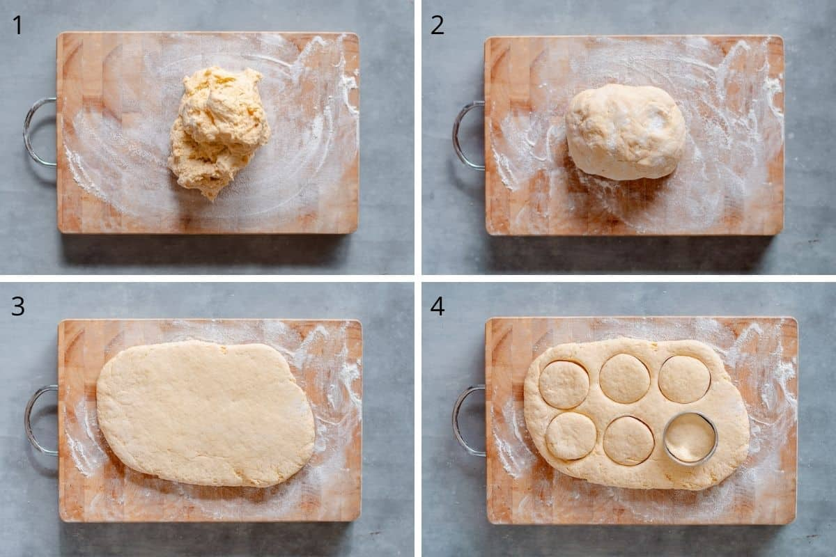 A collection of images showing how to make scones.
