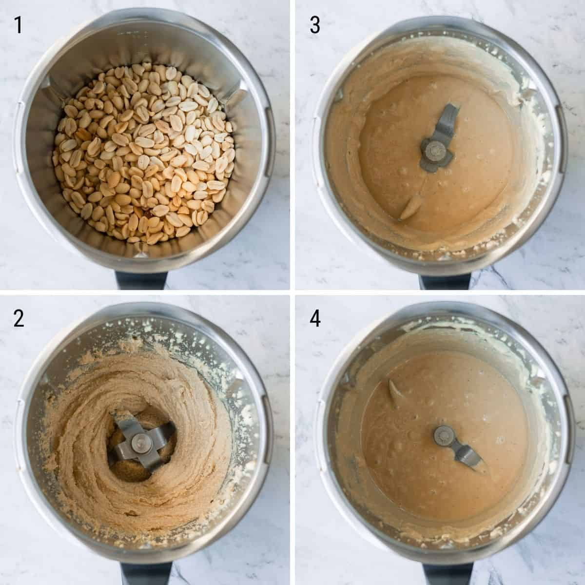 A collection of images explaining how to make peanut butter in the Thermomix.