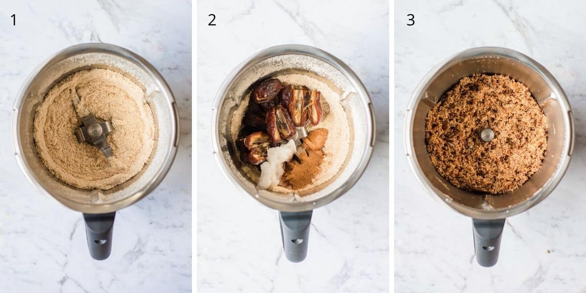 A collection of images explaining how to make protein balls in the Thermomix.