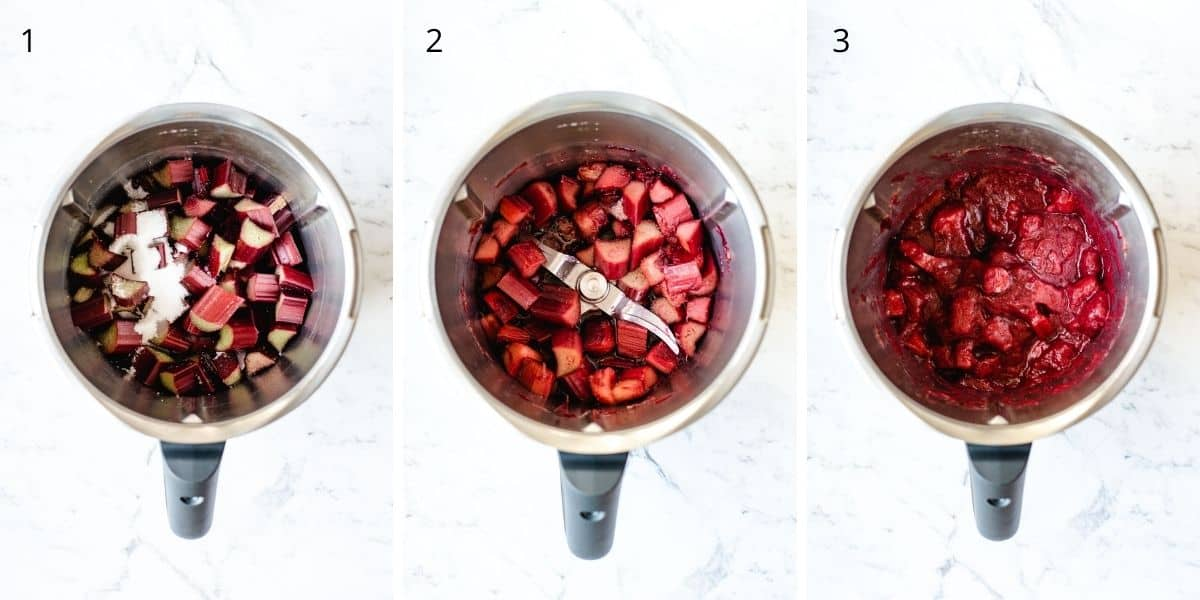 Collection of images explaining how to make stewed rhubarb in the Thermomix.