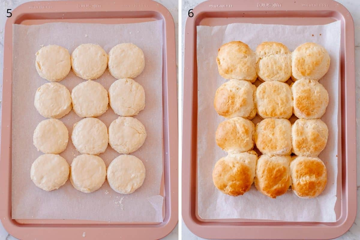 Images of scones before and after being baked.