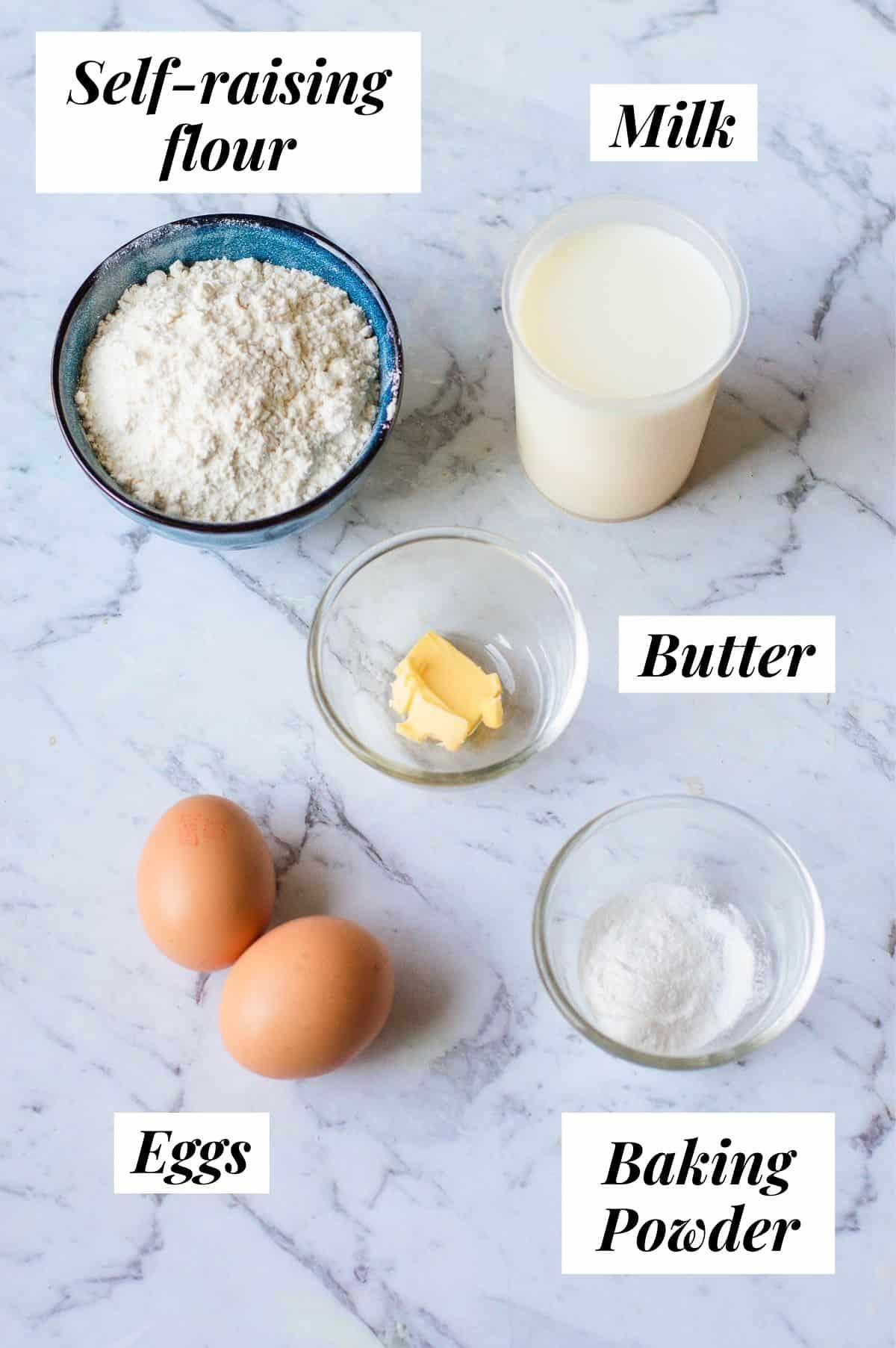 Ingredients to make traditional pancakes.