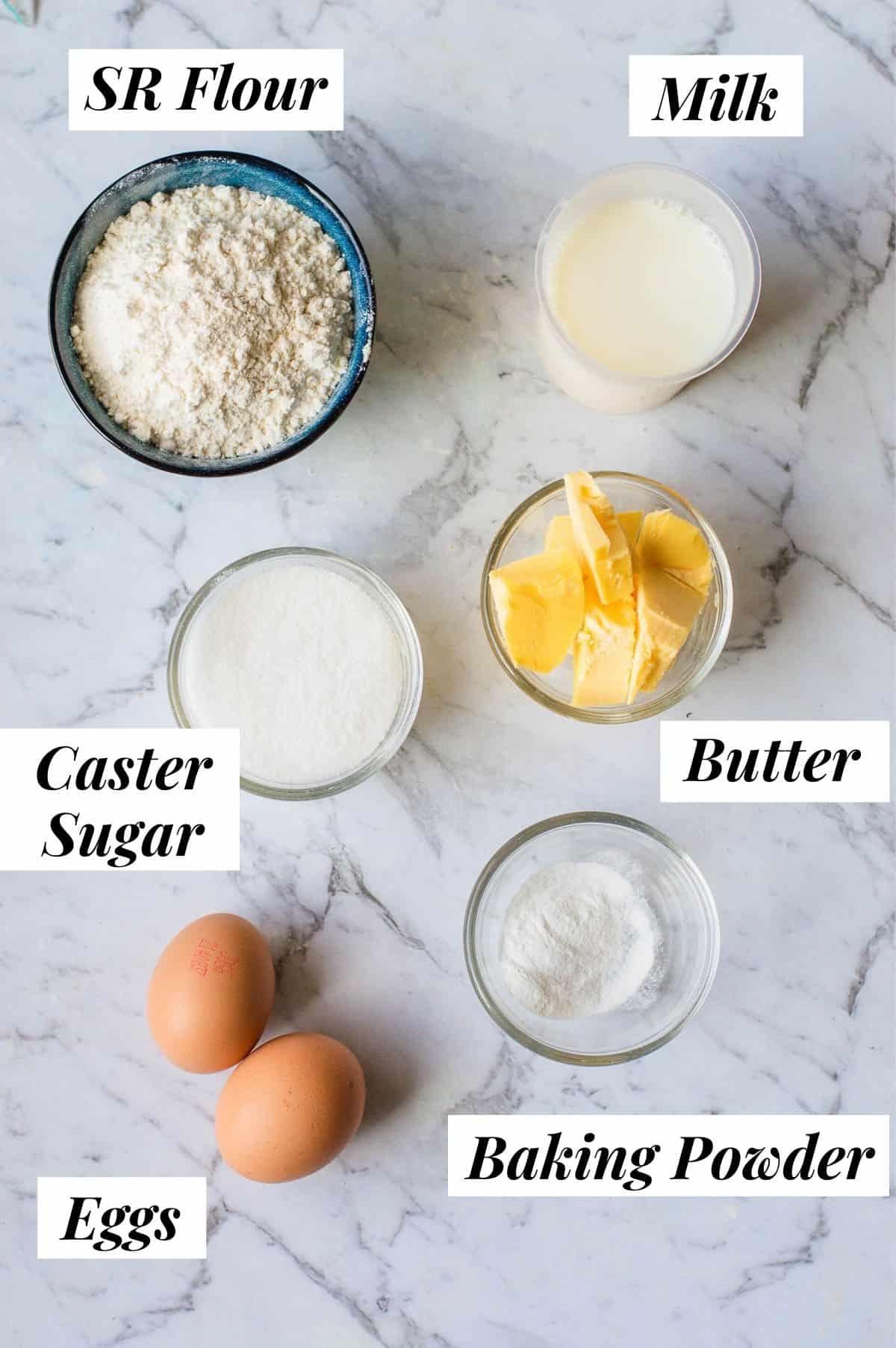 Ingredients to make scones.