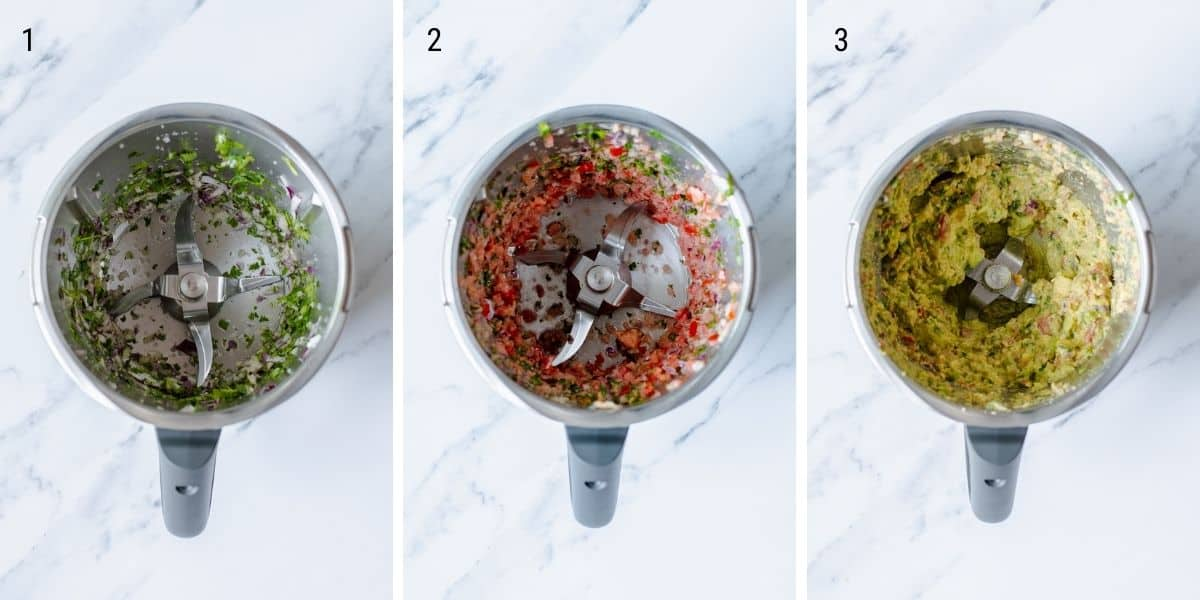 A collection of images showing how to make guacamole in the Thermomix.