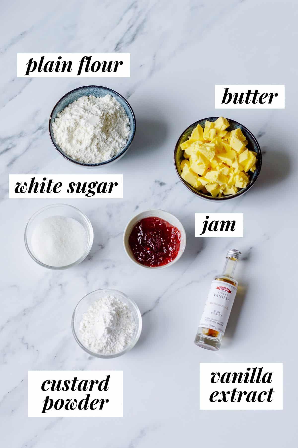 Ingredients to make jam drop biscuits